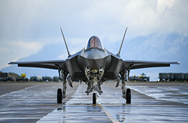 F-35 on rainy flightline