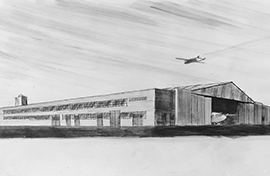 Sketch of aircraft hangar