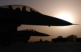 F-16s at sunset